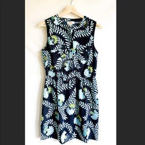 LOFT Sleeveless Blue & Yellow Button Dress